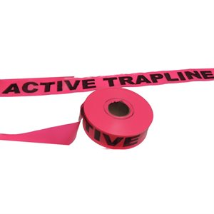 "Flagging Tape Printed -  ""Active Trapline"" - Pink"