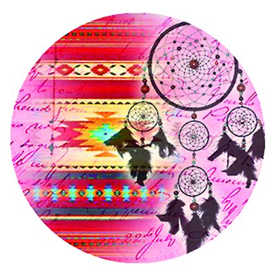 Cabochon - 1'', Assorted Patterns With Dream Catcher - Style 2