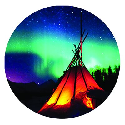Cabochon - 1'', Tipi With Northern Lights - Style 2