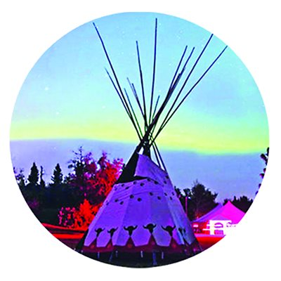Cabochon - 1'', Tipi With Northern Lights - Style 3