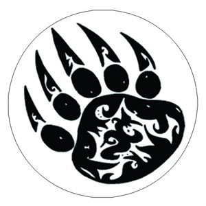 Cabochon - 1'', Paw Print - White With Black