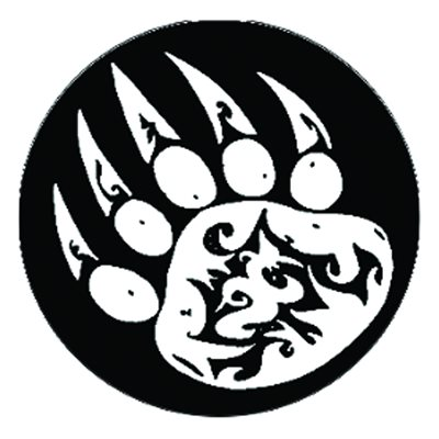 Cabochon - 1'', Paw Print - Black With White