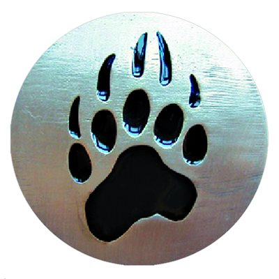 Cabochon - 1'', Paw Print - Silver With Black