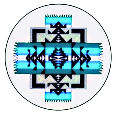 Cabochon - 1'', Chief Joseph Pattern - Blue