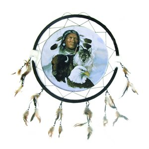 "24"" Dream Catcher - Man with Wolf & Eagle"