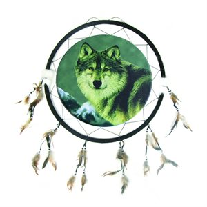 "24"" Dream Catcher - Single Wolf with Mountains"