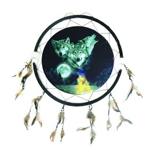 "24"" Dream Catcher - 3 Wolves With Moon"