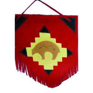 Wall Hanging - Red Suede with Bear In The Center