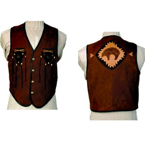 Leather Vest with Arrowheads and Bear On Back - Size 46