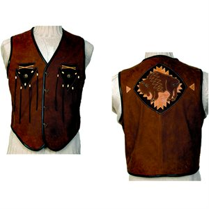 Leather Vest with Arrowheads And Bison On Back - Size 48