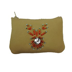 Change Purse - Moosehide With Beading And Tufting - Cream