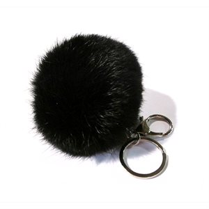 Rabbit pom-pom Key Chain - Black