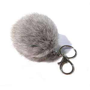 Rabbit Pom-Pom Key Chain - Chinchilla