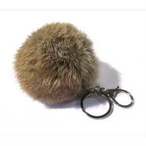 Rabbit Pom-Pom Key Chain - Coyote