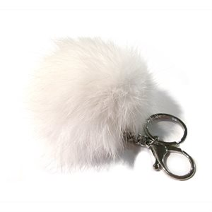 Rabbit Pom-Pom Key Chain - White