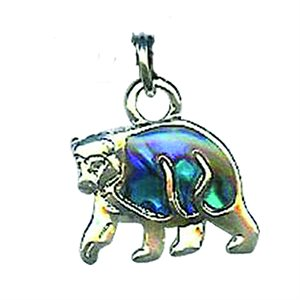 Pendant - Abalone Grizzly Bear