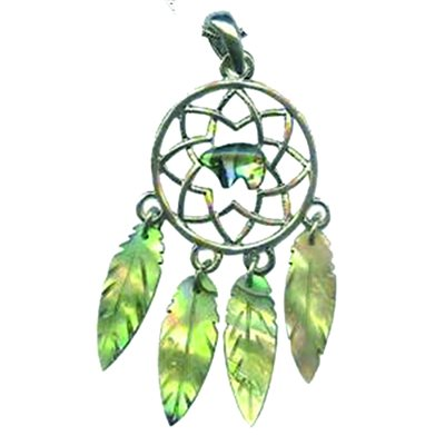 Pendant - Abalone Dream Catcher (with Bear Centre)