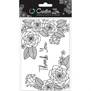 Floral 2 - Coloring Cards - Thank You