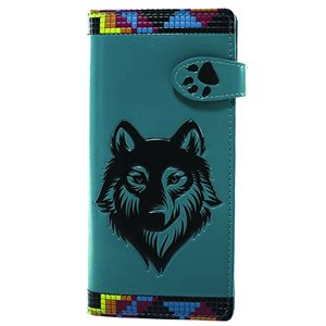 Ladies Wallet - Native Wolf, Teal
