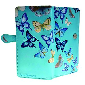 Ladies Wallet - Butterflies - Sky Blue (Zipper)