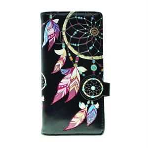 Ladies Wallet - Dream Catchers - Black (Zipper)