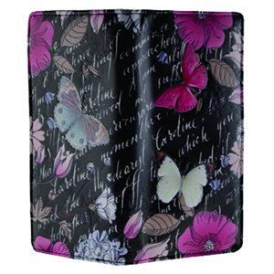 Ladies Wallet - Vintage Butterfly Floral - Black (Zipper)